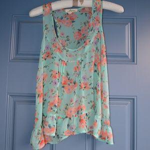 Black Poppy Sleeveless Sheer Floral Print Top